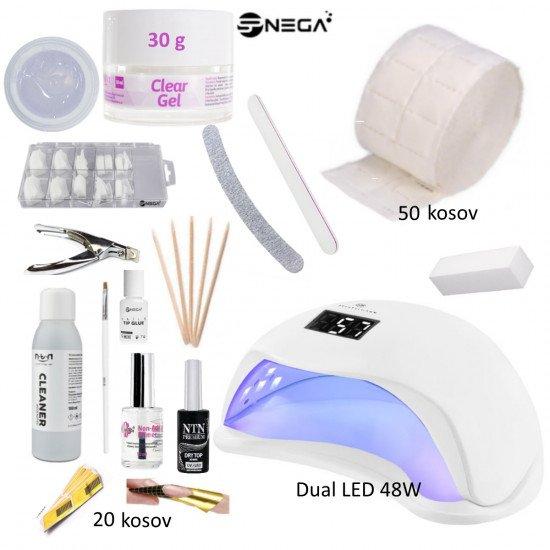 Komplet XL začetni za gel nohte 30g z LED lučko  Začetni kompleti za nohte